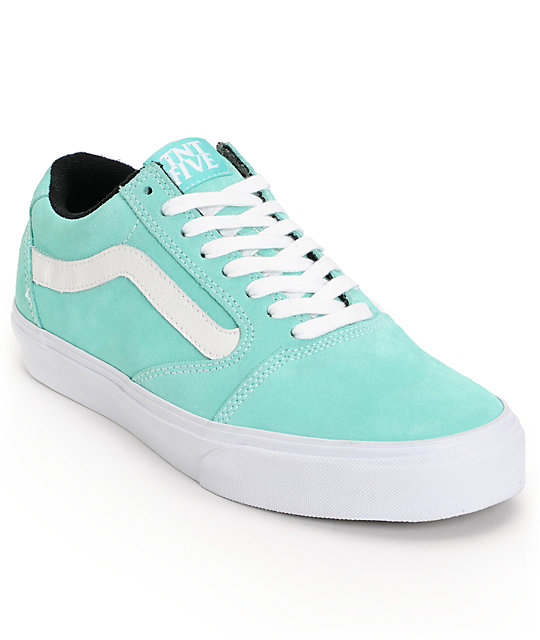 Vans TNT 5 Seafoam Green & White Suede Skate Shoes (Mens)