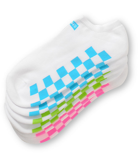Vans White & Neon 3-Pack Ankle Socks