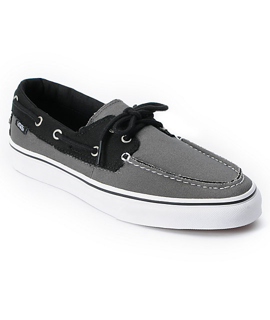 Vans Zapato Del Barco 2 Tone Pewter Grey & Black Boat Skate Shoes ...