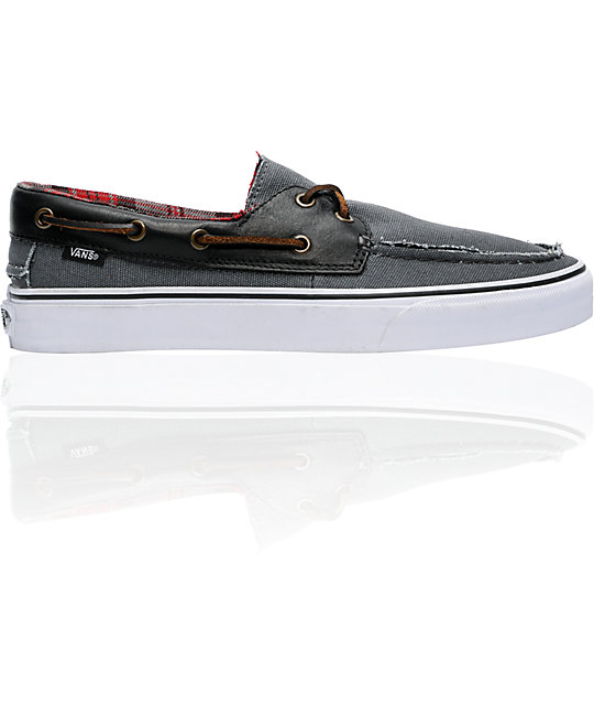 Vans Zapato Del Barco Grey & Black Boat Skate Shoes