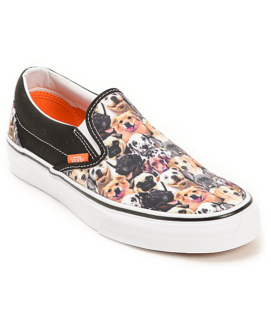 Vans x ASPCA Classic Allover Puppy Print Slip On Shoes (Womens)