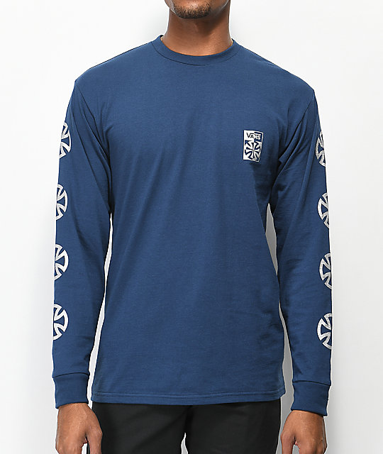 De Manga Checkered Independent Azul Vans X Camiseta Larga 34RAjLqc5S