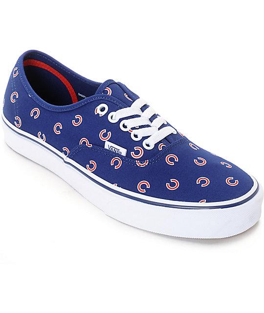 vans x mlb authentic cubs canvas skate shoes