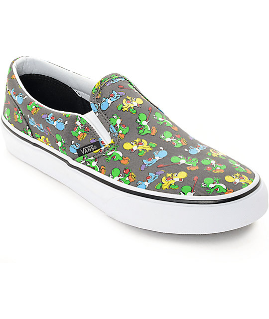 Vans x Nintendo Boys Classic Yoshi & Pewter Slip Ons Shoes at ...