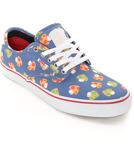 Vans x Nintendo Chima Pro Mushrooms Blue Skate Shoes
