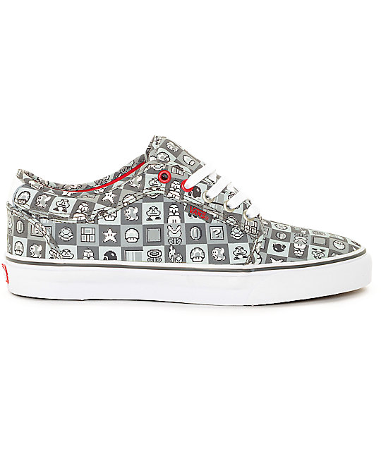 Vans x Nintendo Chukka Low Checkerboard Grey & White Skate Shoes