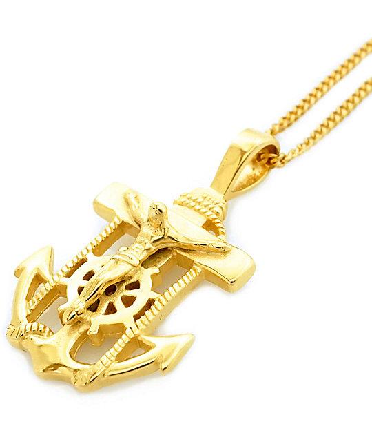 veritas anchor pendant gold necklace