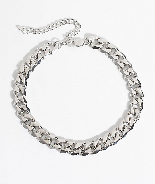 vesso flat cuban link white gold chain necklace zumiez