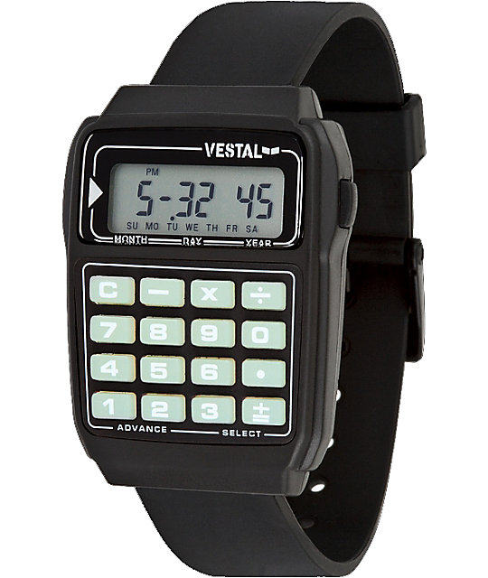 Vestal Datamat Black & Glow In The Dark Digital Watch