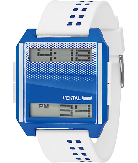 Vestal Digichord White & Blue Digital Watch