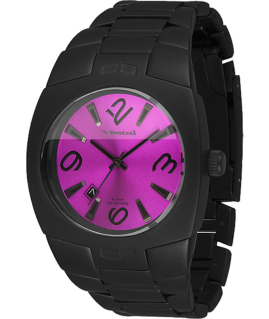 Vestal Gearhead Black & Purple Analog Watch