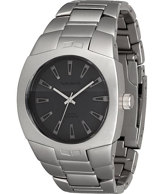 Vestal Gearhead Matte Silver & Black Analog Watch