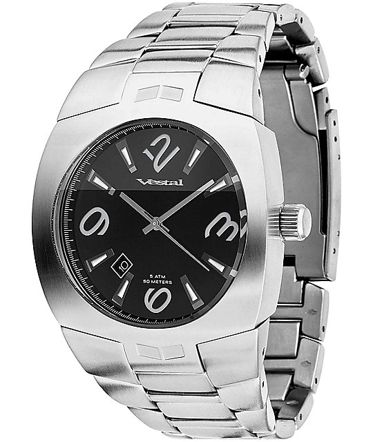 Vestal Gearhead Silver & Black Analog Watch