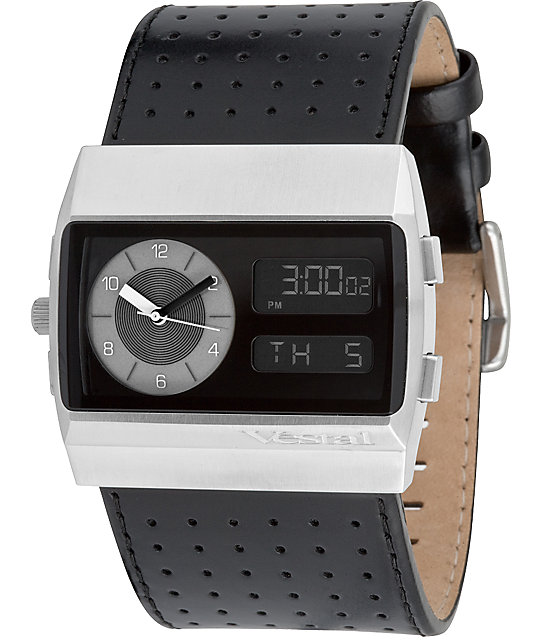 Vestal Leather Monte Carlo Black & Silver Watch