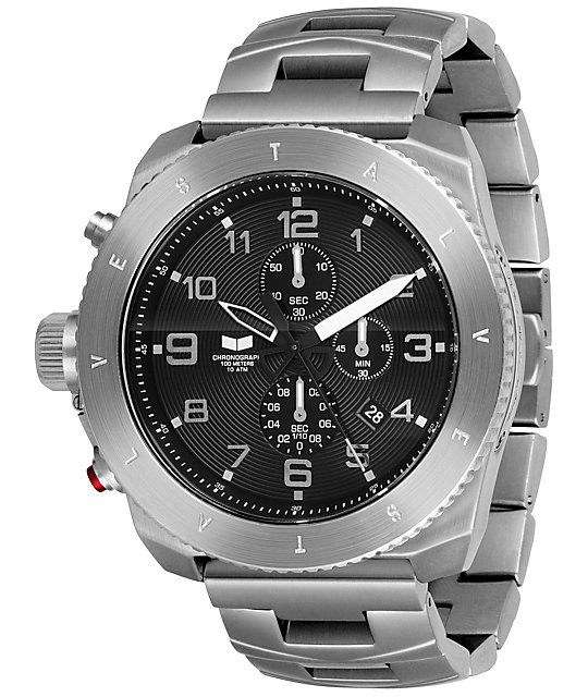 Vestal Restrictor Sliver & Black Mens Chronograph Watch