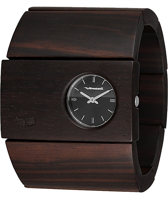 Vestal Rosewood Ebony & Black Analog Watch