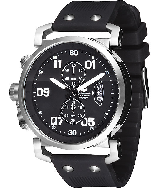Vestal USS Observer Black & Silver Chronograph Watch