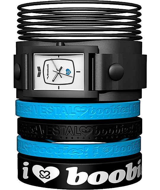 Vestal x Keep A Breast Foundation Electra Jelly Black & Blue Watch
