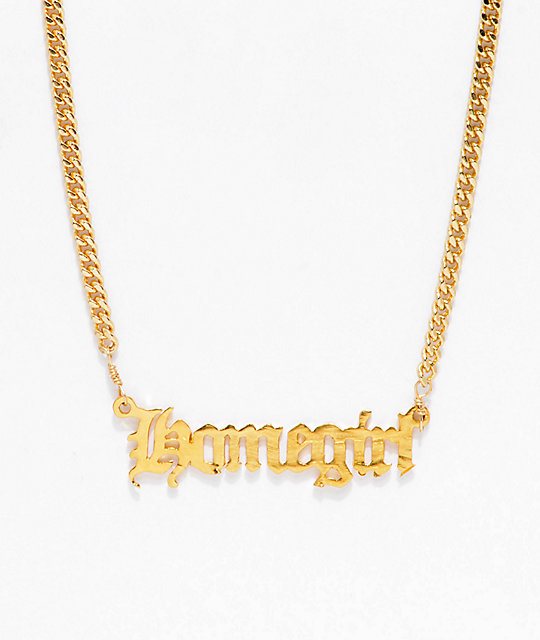 Vida Kush Homegirl Nameplate Gold Choker Necklace by Vidakush