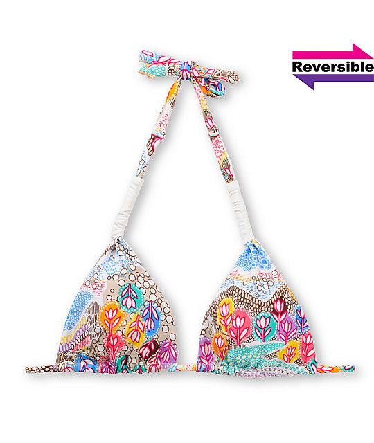 Vitamin A Rainbow Fields Reversible Slide Halter Bikini Top