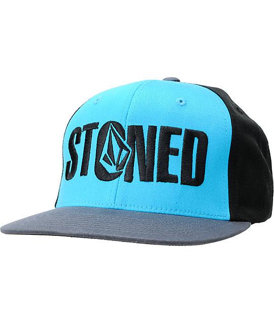 Volcom  Stoned Grey & Turquoise Snapback Hat