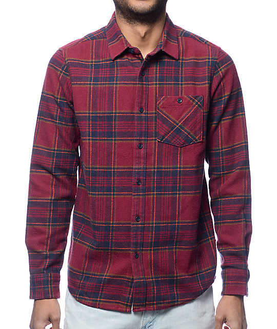 Volcom 18 To Life Burgundy Flannel Shirt
