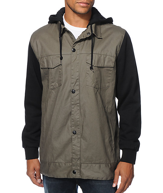 Volcom 4x4 Green Waxed Hooded Tech Jacket