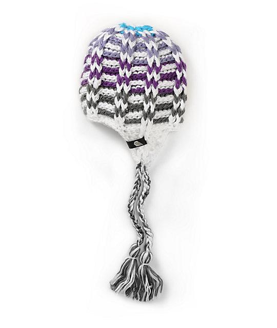 Volcom Ace White & Purple Stripe Beanie