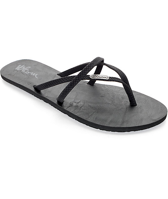 Volcom All Night Long Sulfer Black Sandals