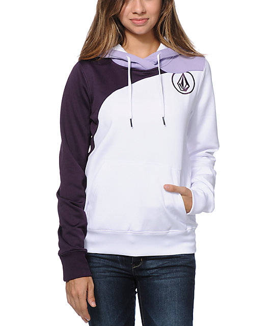 Volcom Aluka White Pullover Hydro Tech Fleece Jacket