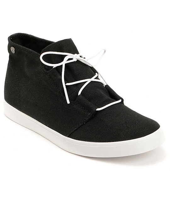 Volcom Art Show Black Canvas Mid Top Shoes