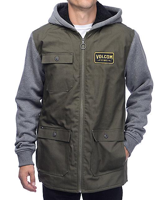 Volcom Battalion Green & Grey Sherpa Fleece Jacket