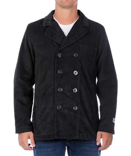 Volcom Bellevue Corduroy Grey Pea Coat