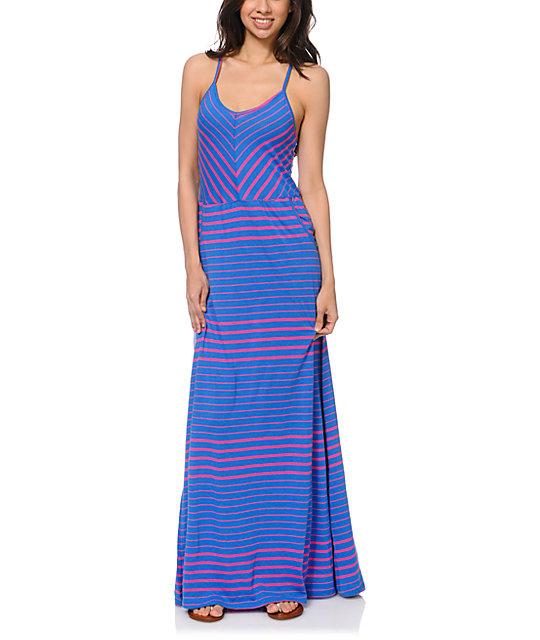 Volcom Between The Lines Blue Stripe Maxi Dress