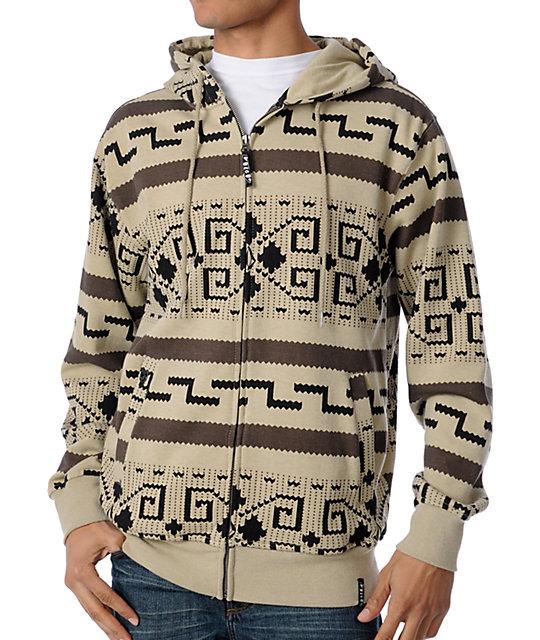 Volcom Big Stonowski Khaki Zip Up Hoodie