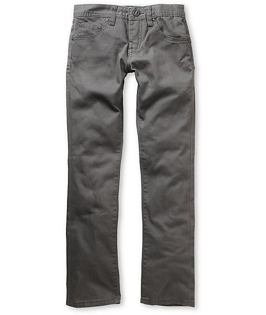 Volcom Boys 4x4 Grey Twill Slim Jeans