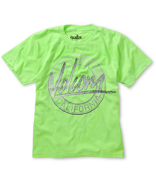 Volcom Boys 80s Art Lime Green T-Shirt