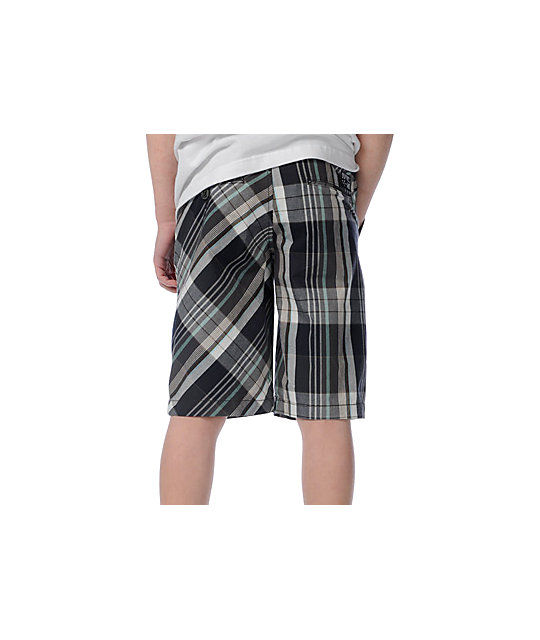 Volcom Boys Beta Shadow Grey Plaid Shorts