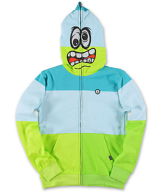 Volcom Boys Booster Turquoise Face Mask Hoodie