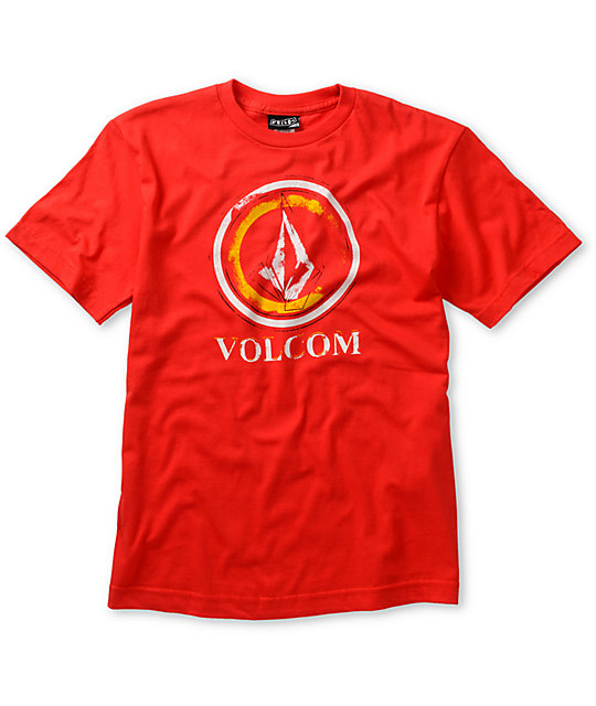 Volcom Boys Circle Stain Red T-Shirt
