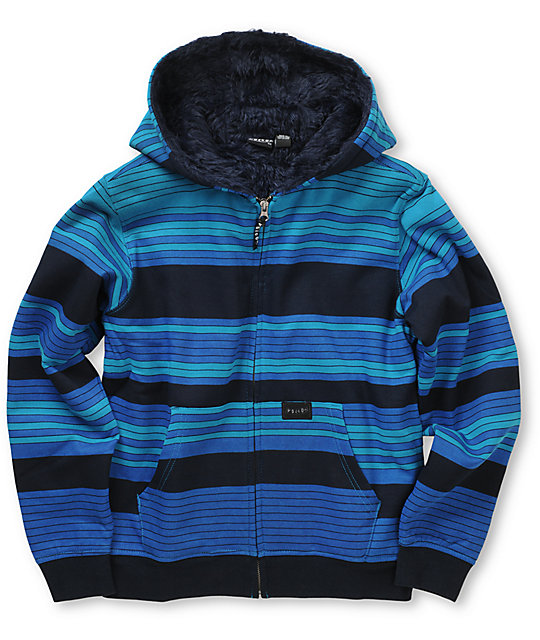 Volcom Boys Dirked Fur Lined Blue Striped Zip Up Hoodie