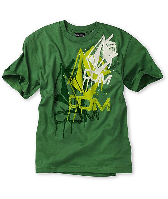 Volcom Boys Drip Blur Green T-Shirt