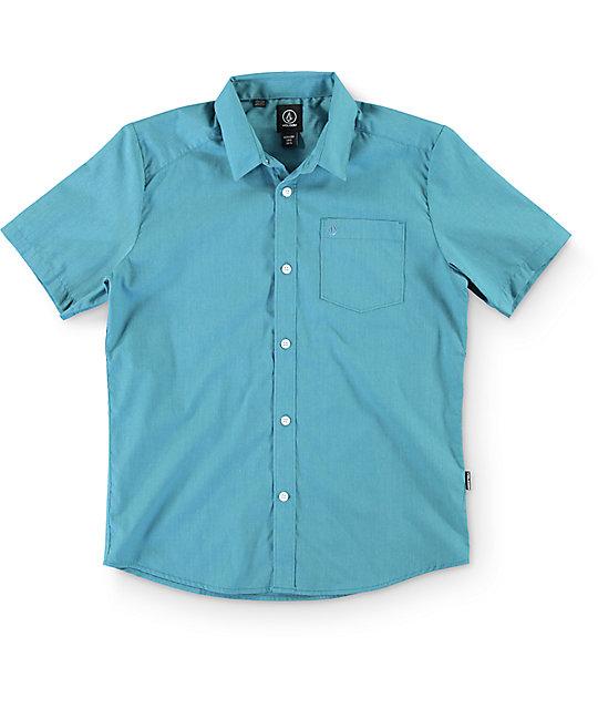 Volcom Boys Everett Stormy Blue Button Up Shirt
