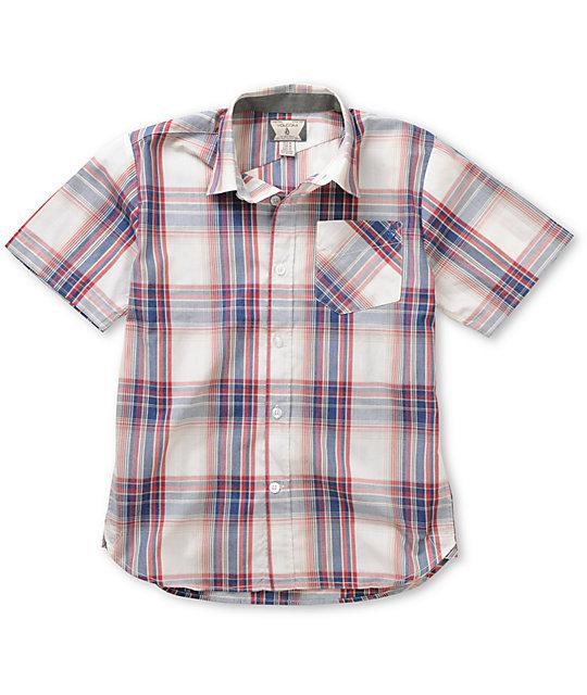 Volcom Boys Ex Factor Red & Blue Plaid Button Up Shirt
