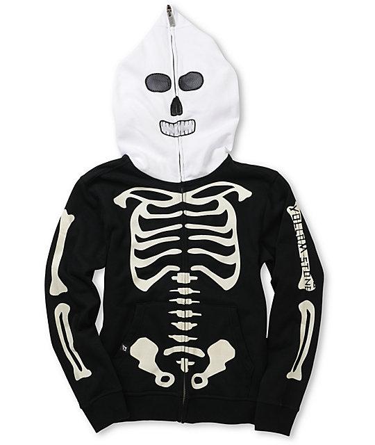 Volcom Boys Fear Skeleton Black Full Zip Face Mask Hoodie