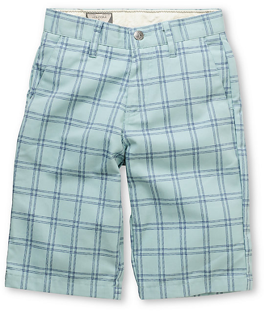 Volcom Boys Frickin Blue & Navy Plaid Chino Shorts