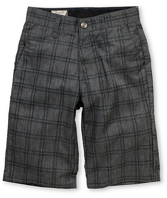 Volcom Boys Frickin Grey Plaid Chino Shorts