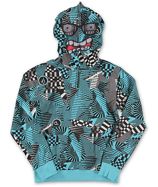 Volcom Boys Hide Out Half Zip Face Mask Hoodie