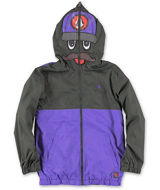 Volcom Boys Hoopla Digger Black Full Zip Face Mask Jacket