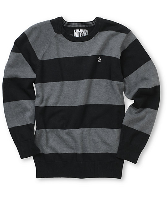 Volcom Boys Innercircle Black Striped Crew Neck Sweater